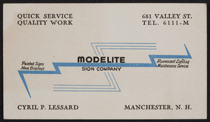 Trade card for Modelite Sign Company, 681 Valley Street, Manchester, New Hampshire, undated