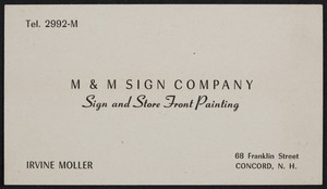 Trade card for M & M Sign Company, sign and store front painting, 68 Franklin Street, Concord, New Hampshire, undated