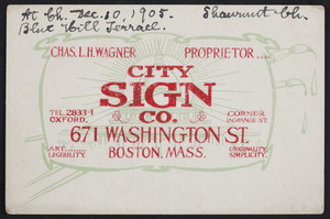 Trade card for the City Sign Co., 671 Washington Street, corner Lagrange Street, Boston, Mass., undated
