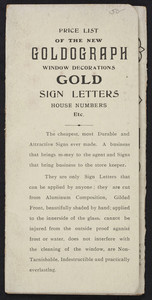 Price list of the new Goldograph window decorations, gold sign letters, house numbers, The Goldograph Co., 58 Ann Street, New York, New York, undated