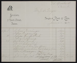 Billhead for Rand & Crane, jewellers, 3 Park Street, Boston, Mass., dated June 1, 1892