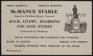 Trade card for the McManus Stable, hack, livery, boarding and sale stable, opposite Fitchburg Depot, Concord, Mass., undated