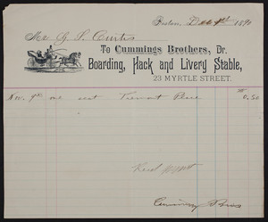 Billhead for Cummings Brothers, Dr., boarding, hack and livery stable, 23 Myrtle Street, Boston, Mass., dated December 1, 1890