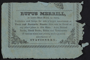 Advertisement for Rufus Merrill, stationery, Low's Brick Block, Concord, New Hampshire, undated