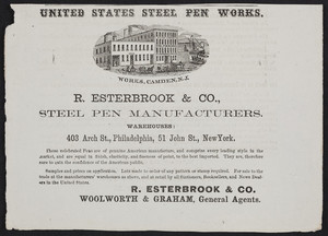 Advertisement for R. Esterbrook & Co., steel pen manufacturers, 403 Arch Street, Philadelphia, Pennsylvania and 51 John Street, New York, New York, 1866