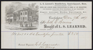 Billhead for L.S. Learned, stationery, L.S. Learned's Manufactory, Cambridgeport, Mass., dated December 7, 1867