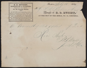 Billhead for B.B. Mussey, bookseller & stationer, No. 29 Cornhill, Boston, Mass., dated July 10, 1839