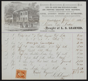 Billhead for L.S. Learned, stationery, L.S. Learned's Manufactory, Cambridgeport, Mass., dated June 11, 1868