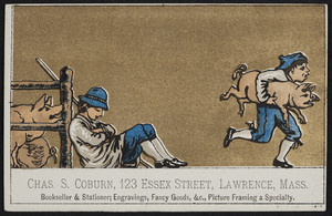 Trade card for Chas. S. Coburn, bookseller & stationer, 123 Essex Street, Lawrence, Mass., undated