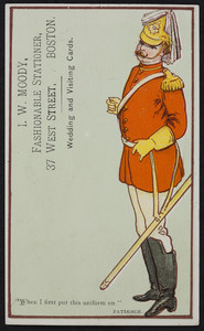 Trade card for I.W. Moody, fashionable stationer, 37 West Street, Boston, Mass., undated