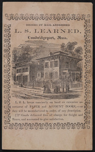Account book for L.S. Learned, paper and account books, Cambridgeport, Mass., 1867