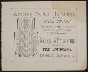 Advertisement for Merrill & Mackintire, dealers in fine stationery, 170 Essex Street, corner South Peter, Salem, Mass., undated