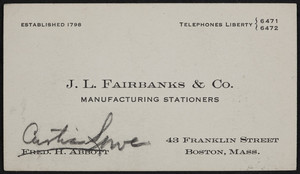 Trade card for J.L. Fairbanks & Co., manufacturing stationers, 43 Franklin Street, Boston, Mass., undated