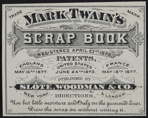 Label for Mark Twain's Scrap Book, published by Slote, Woodman & Co., New York and London, undated