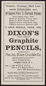 Brochure for Dixon's Graphite Pencils, manufactured by The Jos. Dixon Crucible Co., Jersey City, New Jersey, 1879