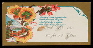 Sample card for card pack, location unknown, undated