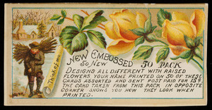 Sample card for new embossed 50 pack, location unknown, undated
