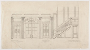 Back stair plan and elevation, residence of Mrs  Charles C  Pomeroy
