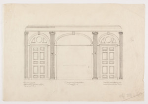 "Dining room elevation, 1/2 inch scale, residence of F. K. Sturgis, ""Faxon Lodge"", Newport, R.I."