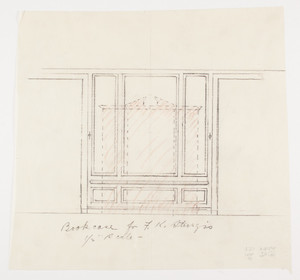 "Drawing room elevation, bookcase, 1/2 inch scale, residence of F. K. Sturgis, ""Faxon Lodge"", Newport, R.I."