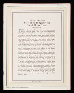 Seven-and-eight room face brick bungalow and small house plans, 2nd edition, American Face Brick Association, Chicago, Illinois