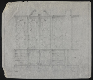 Elevation and section of furniture, house for John S. Ames, 3 Commonwealth Avenue, Boston, Mass., undated