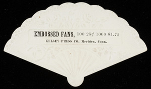 Sample card for embossed fans, Kelsey Press Co., Meriden, Connecticut, undated