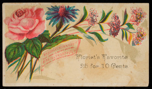 Sample card for florist's favorite, location unknown, undated