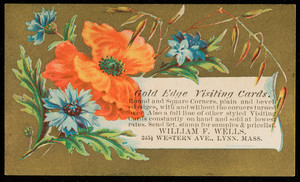 Trade card for William F. Wells, gold edge visiting cards, 345 1/2 Western Avenue, Lynn, Mass., undated