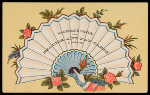 Trade card for Haddock's Cards, peacock and fan cards, location unknown, undated