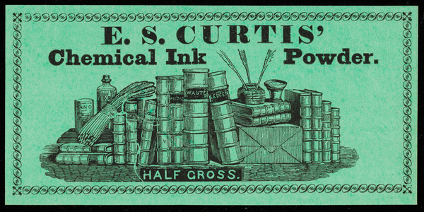 Label for E.S. Curtis' Chemical Ink Powder, location unknown, undated