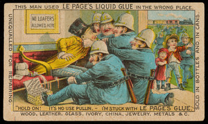 Trade card for Le Page's Liquid Glue, manufactured by the Russia Cement Co., Gloucester, Mass., 1880s
