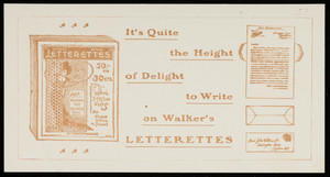Sheet for Walker's Letterettes, John Walker & Co., Farringdon House, London, England, undated