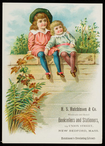 Trade card for H.S. Hutchinson & Co., wholesale and retail booksellers and stationers, 194 Union Street, New Bedford, Mass., undated