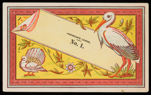 Sample for Haddock's Cards No. 1, location unknown, undated
