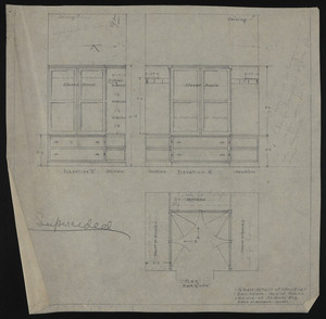 "1/2"" Scale details of closet in Own Room, second floor, House of J.S. Ames Esq., undated"