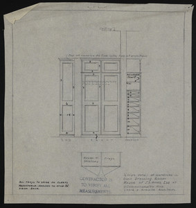 Full Size Details of Wardrobe in Own Bath, House of J.S. Ames Esq. at 3 Commonwealth Ave., Boston, Mass., undated