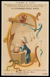 Trade card for Ward & Gay, wholesale and retail stationers and dealers in advertising, birthday and Christmas cards, 184 Devonshire Street, Boston, Mass., undated