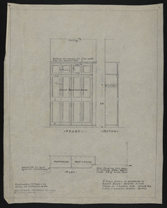 "1/2"" Scale Detail of Wardrobe in Guest Room, Second Floor, House of J.S. Ames Esq., 3 Com. Ave., undated"