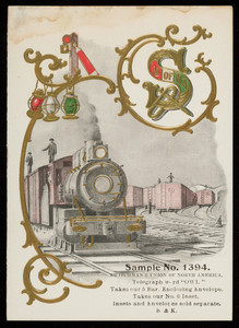Sample card for No. 1394, Switchman's Union of North America, B. & K., location unknown, undated