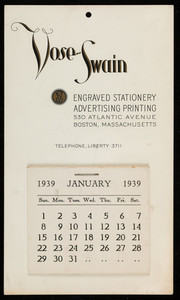 Trade card for Vose-Swain, engraved stationery, advertising printing, 30 Atlantic Avenue, Boston, Mass., January 1939
