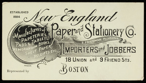 Trade cards for the New England Paper and Stationery Co., importers and jobbers, 18 Union and 9 Friend Streets, Boston, Mass., undated
