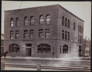 Exterior view of a bank building, Waltham, Massachusetts, undated.