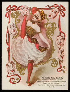 Sample card for No. 2549, B. & K., location unknown, undated