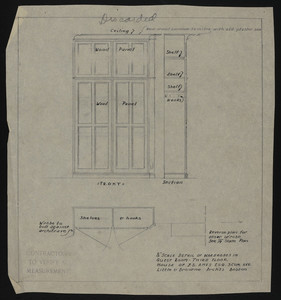 "1/2"" Scale Detail of Wardrobe in Guest Room, Third Floor, House of J.S. Ames Esq., 3 Com. Ave., undated"