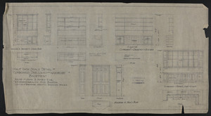 Half Inch Scale Detail of Cupboards, Dressers and Wardrobe in Basement, House of John S. Ames Esq., #3 Commonwealth Ave., Boston, undated