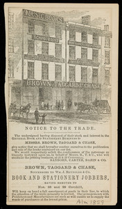 Advertisement for Brown, Taggard & Chase, book and stationery jobbers, Nos. 25 and 29 Cornhill, Boston, Mass., 1859