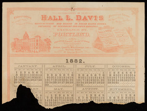 Calendar fragment for Hall. L. Davis, manufacturer and dealer in paged blank books, importer of stationery and paper hangings, Exchange Street, Portland, Maine, 1882