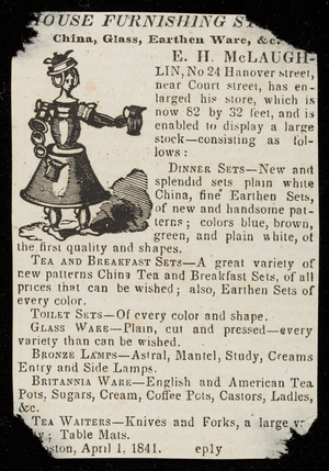 Advertisement for E.H. McLaughlin, china, glass, earthen ware, No. 24 Hanover Street, Boston, Mass., April 1, 1841