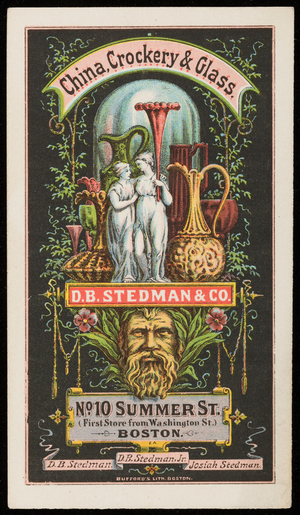 Trade cards for D.B. Stedman & Co., china, crockery & glass, No. 10 Summer Street, Boston, Mass., undated
